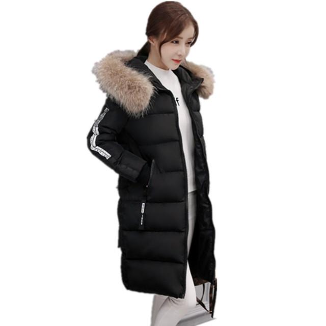 Mulheres WinterJackets Para Baixo Algodão-Acolchoado Jaqueta Feminina Espessamento de Algodão-Acolchoado Jaqueta Grande Gola De Pele Casaco de Inverno Mulheres Mais Si