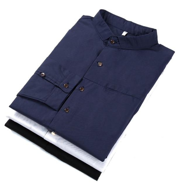 Los hombres camisas de vestir con mangas largas de metal hebilla del collar del soporte del color sólido camisa masculina francés puño de la camisa