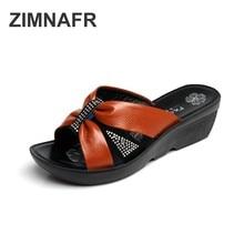 zimnafr genuine leather women slippers  rhinestone fashion ladies sandals middle-aged mother plus size
