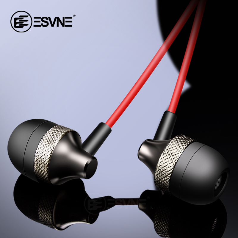 ESVNE Metal Wired Earphone 3.5mm Heavy Bass Sound Quality Music Sport Headset with microphone For Computer Phone MP3 Headphone image