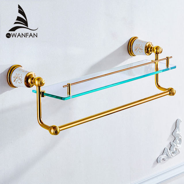 bathroom shelves gold brass wall shelf shower cosmetic glass shelf towel hanger holder bathroom accessories bath - Bathroom Accessories Glass Shelf
