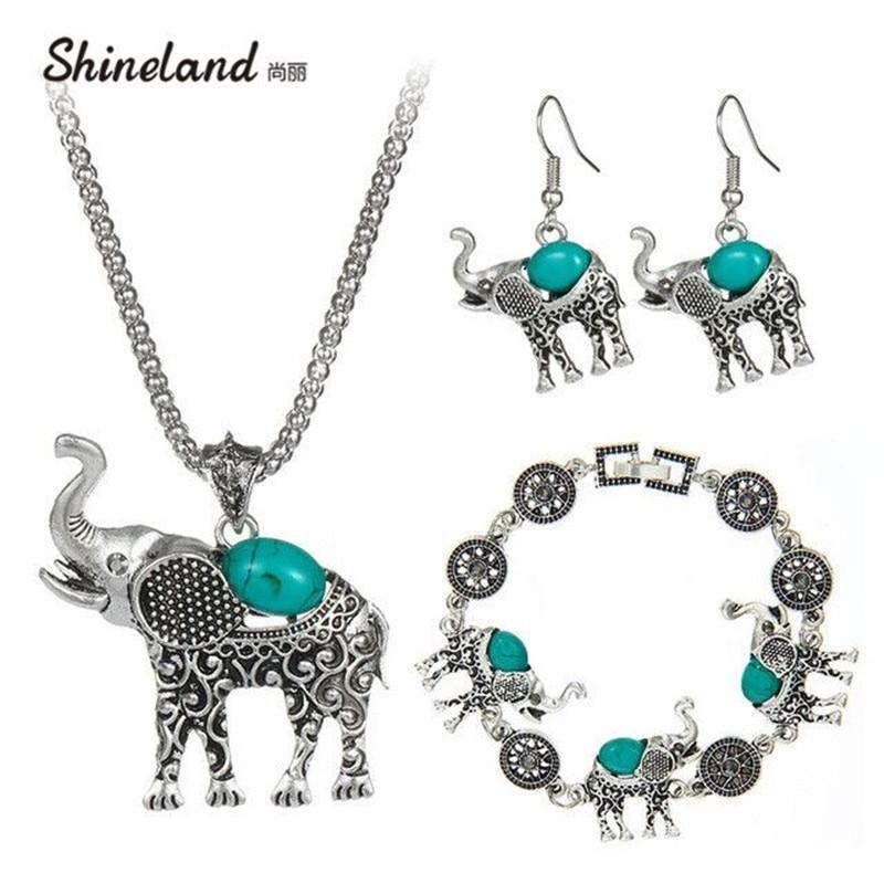 Shineland Cute Elephant Pendant Jewelry Adjust Bracelets Chain Necklaces dubai s