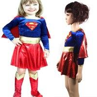2017 nova criança frete grátis supergirl sexy girl super hero traje do partido cosplay para crianças superman traje super girl dress