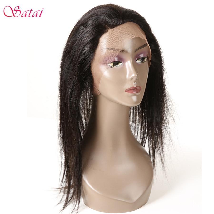 SATAI Straight Hair 360 Lace Frontal Natural Color 100% Human Hair 360 Lace Frontal With Bundles Remy Hair