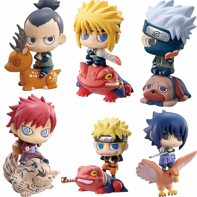 6pcs/set Naruto Sasuke Uzumaki Kakashi Gaara Action With Mounts Figures Japan Anime Collections
