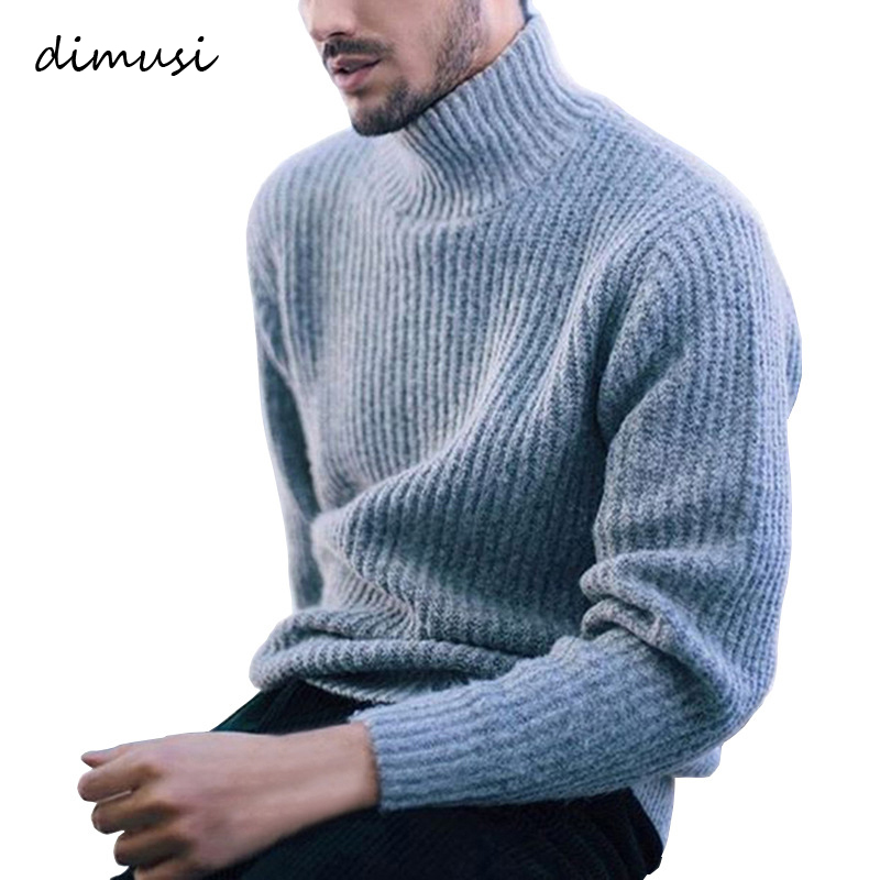 DIMUSI Winter Thick Warm Cashmere Sweater Men Turtleneck Mens Sweaters Slim Fit Pullover Men Classic Wool Knitwear Pull Homme