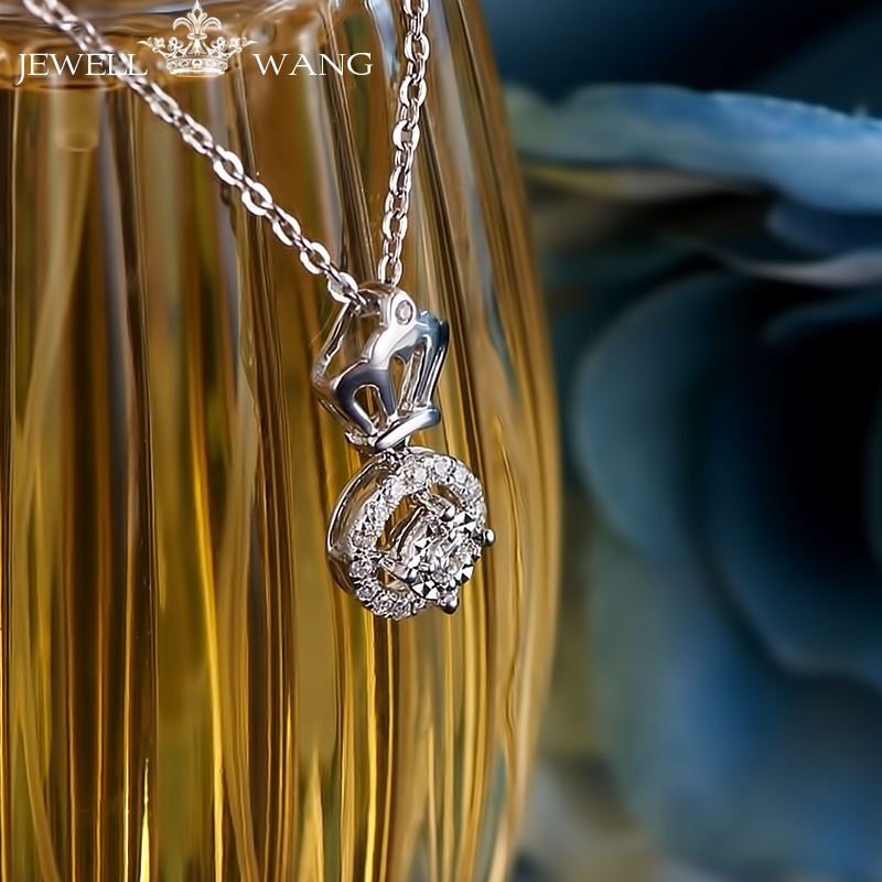2 Carat Effect Diamond Pendants For Wome Romantic Crown Style Light Luxury Certified 18K White Gold Real Fine Gifts