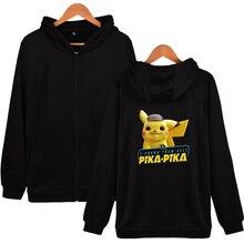 2019 Anime movie Pokemon Detective Pikachu 2D Print Zipper Hoodies Sweatshirt Cute Women/men Fashion Zippers