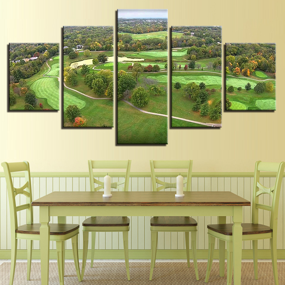 Modern Posters Home Decor Wall Art HD Prints 5 Pieces Golf Course ...