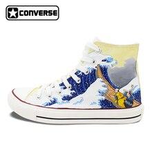 Новая обувь Converse японский укие-э ручная роспись Высокая парусиновая обувь для хип-хопа персонализированные подарки уникальные кроссовки мужские и женские