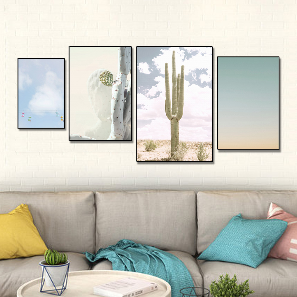 Unframed Multiple Pieces Nordic HD Canvas Painting Cactus Sky Cable Car For Decorative Paintings Living Room Mural Free Shipping