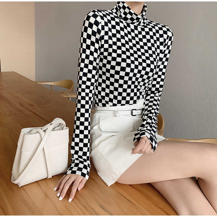 Long Sleeve Shirt Women Fall 2019 Korean Style Vintage Black White Checkerboard Turtle Neck Slim Basic T-shirt top femme T313
