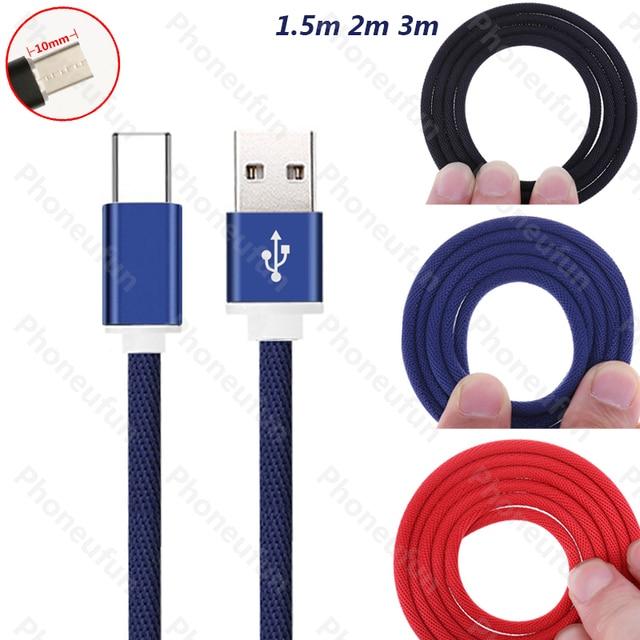 1,5 m/2 m/3 m/10mm tipo-C conector tipo C Cable 1,5 /2/3 metros para Blackview para Oukitel para Umi USB-C cable 150 cm/200 cm/300 cm