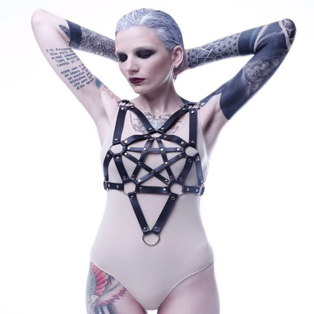 Fashion Handmade Leather Harness Punk Gothic Body Bondage Cage Shoulder Wraped Waist Straps Suclpting Belt