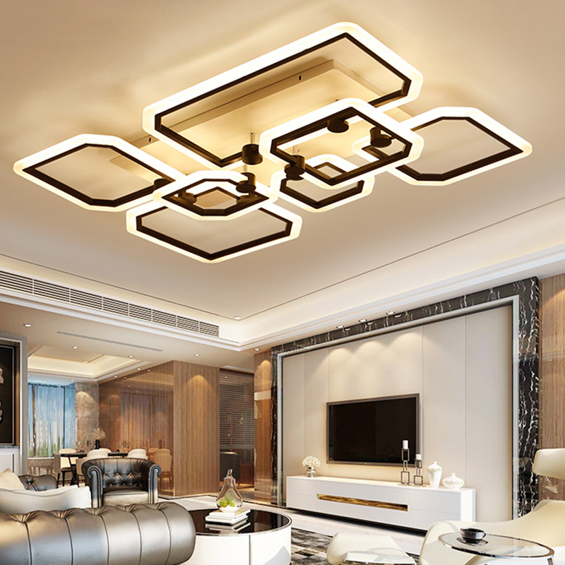 New Arrival Black/White LED Ceiling Chandelier For Living Dining Room Bedroom Aluminum Modern Led Ceiling Chandelier lights free shipping new arrival 35pcs pack 2m pcs led aluminum profile for led strips with milky or transparent cover and accessories