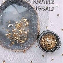 1Jar Милая луна и звезда смешанные металлические гвоздики в черной банке Луна Звезда Металл 3D металлический декор