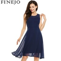 FINEJO Summer Women Chiffon Dress 2017 New Fashion Casual Sleeveless Patchwork Semi Sheer O Neck Cocktail