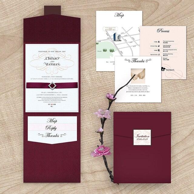 2015 New Arrival Burgundy Rhinestone Wedding Invitation with RSVP