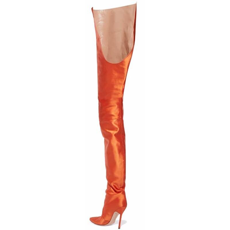 Hauts pink Femmes forme purple Plate Bottes Chaussures De Genou Sur Black blue orange Y0117652q Pour Femme Hiver Automne Le Talons Mode Gilola Moto AXx18In