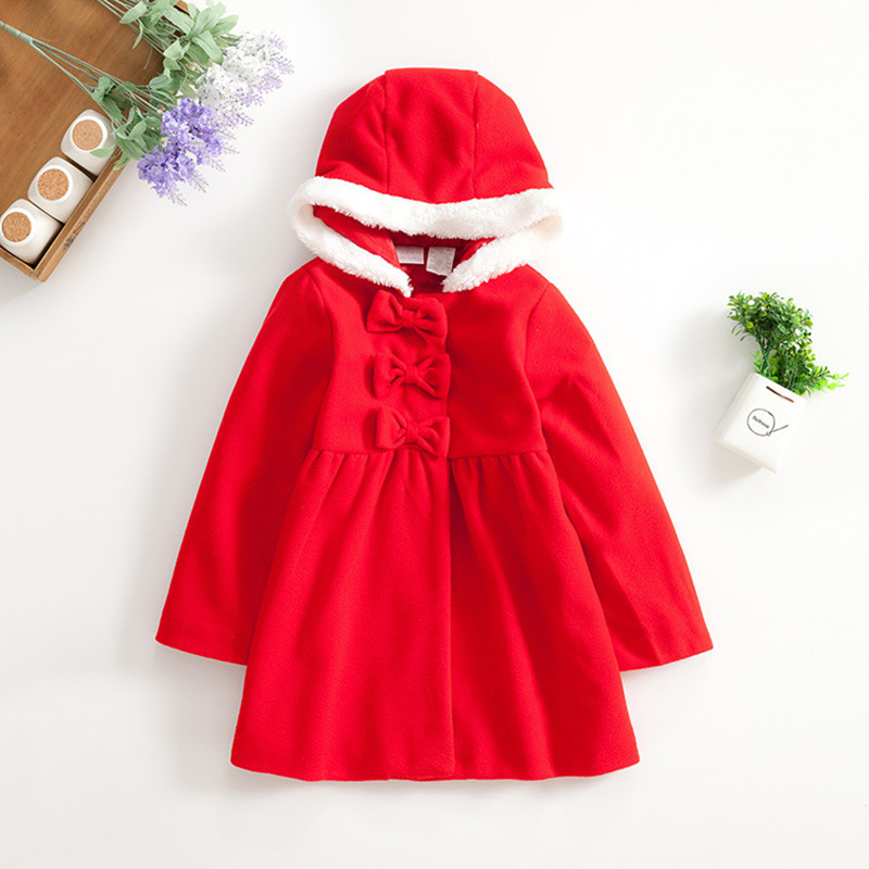 W-44 Children girls coat Winter outwear solid red bow snap hooded coat for 3-5 year.