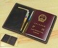 Vintage hombres del cuero Genuino Bolsa porta pasaporte de viajes de pasaporte cubierta Pasaporte caja de la Carpeta de Cuero titular de la Tarjeta de crédito de licencia