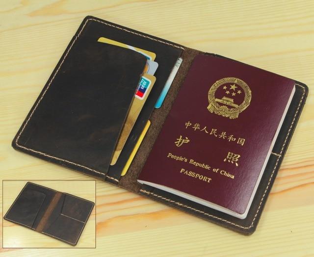 936e4ab4b Vintage men Genuine leather passport cover travel passport holder Bag  Leather Passport case Wallet license credit