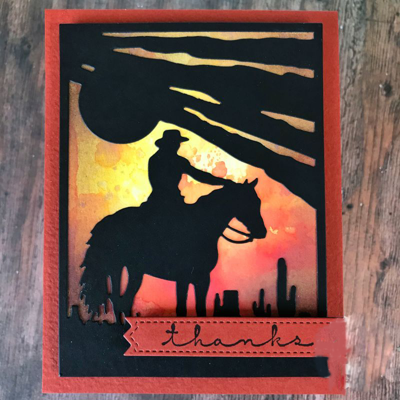 Cowboy and <font><b>Horse</b></font> Silhouette <font><b>Metal</b></font> Cutting dies Stencil Scrapbooking dies Embossing Handcrafts Paper Card DIY Craft image