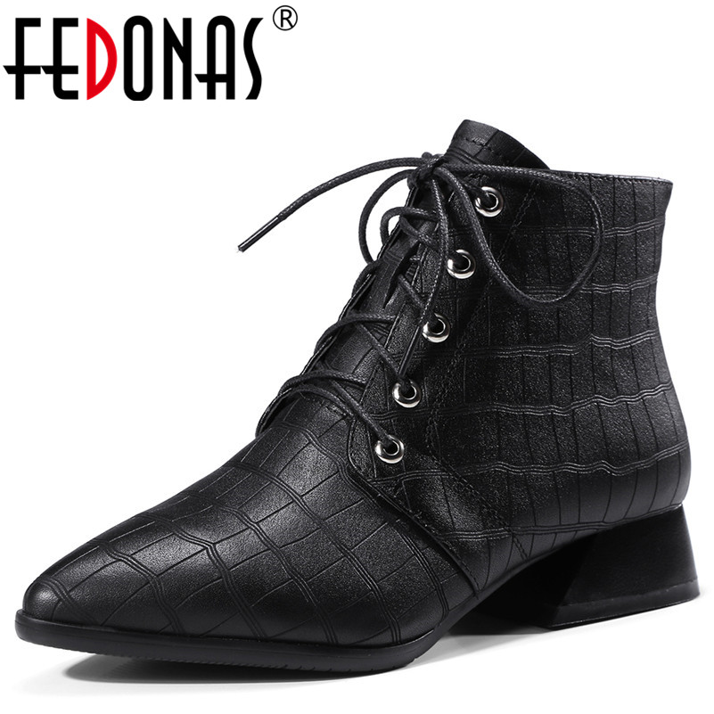 FEDONAS Fashion Women Pointed Toe Autumn Winter Warm Thick High Heels Genuine Leather Martin Shoes Woman Ladies Ankle Boots pointed toe lace up women ankle boots fashion ladies autumn winter flat heels cuasual boots shoes woman motorcycle short booties