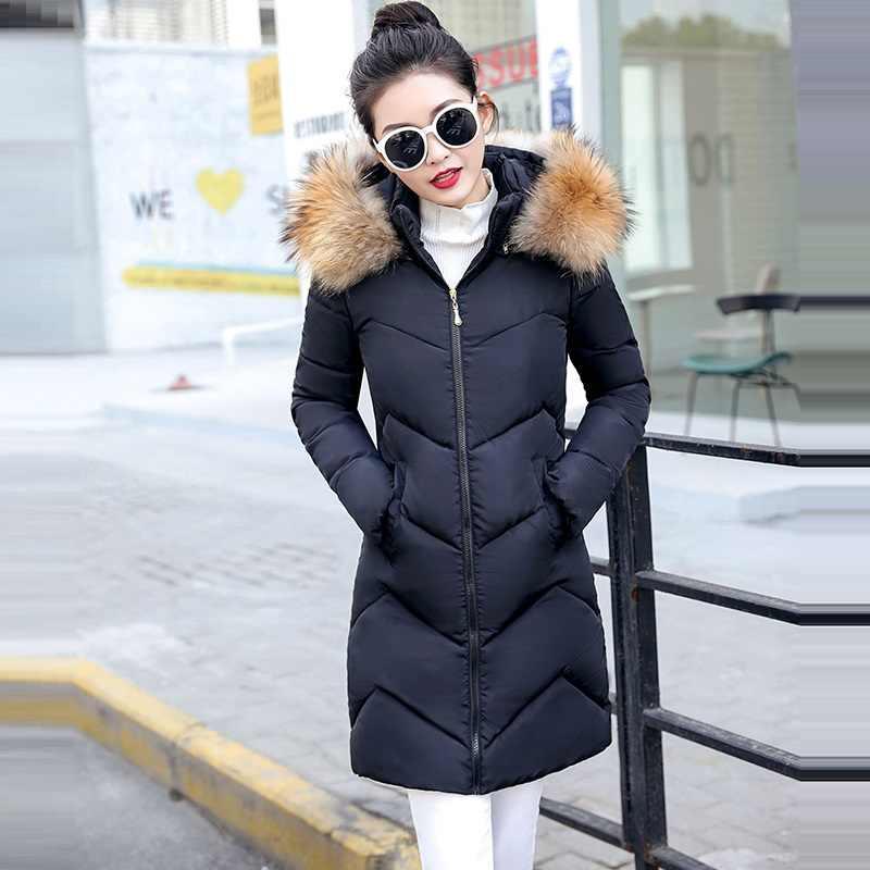 Winterjas vrouwen 2019 Winter Vrouwelijke Lange Jas Winter Jas Vrouwen Nep Bontkraag Warme Vrouw Parka Bovenkleding Donsjack jas