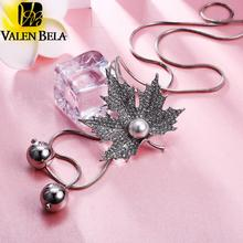 VALEN BELA Hot New Fashion Women Jewelry Creative Classic Temperament Crystal Five Leave Necklace For Women XL1166