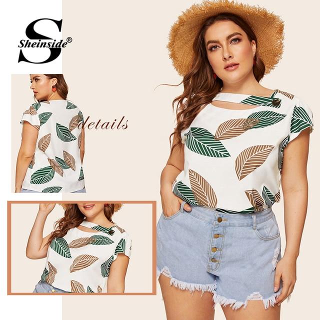 Sheinside Plus Size Casual Leaf Print Asymmetrical Neck Blouse Women 2019 Summer Short Sleeve Blouses Ladies Button Detail Top 5