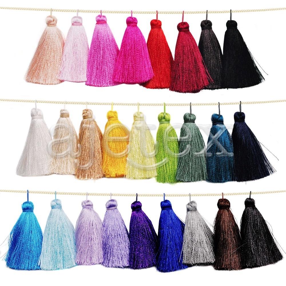 10pcs Light Purple Rayon Tassel 65x11mm Bag Key Pendant Handmade Decor Wholesale