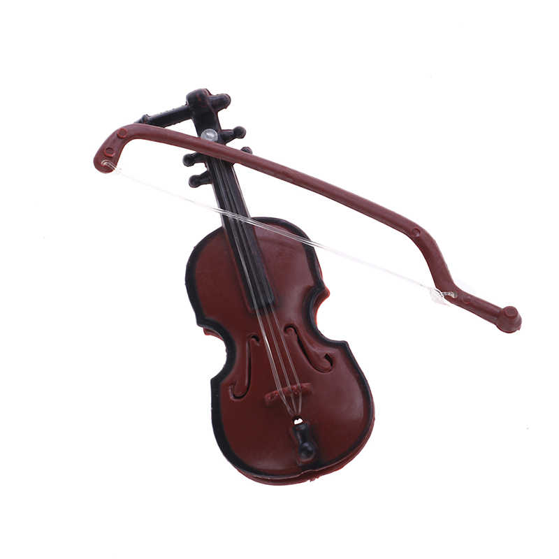 1Pc Plastic Red Mini Violin Dollhouse for babi Decorative Music Instrument Crafts DIY Home Decoration child gift 8.5*3.2CM