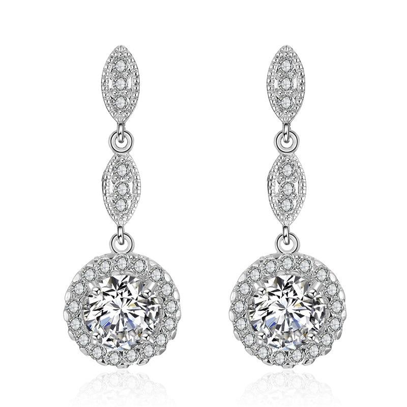 Fashion No Pierced Drop Water Clip Earrings Jewelry Silver Color Zirconia Crystal Jackets Cuff Earrings For Women Ear Clip