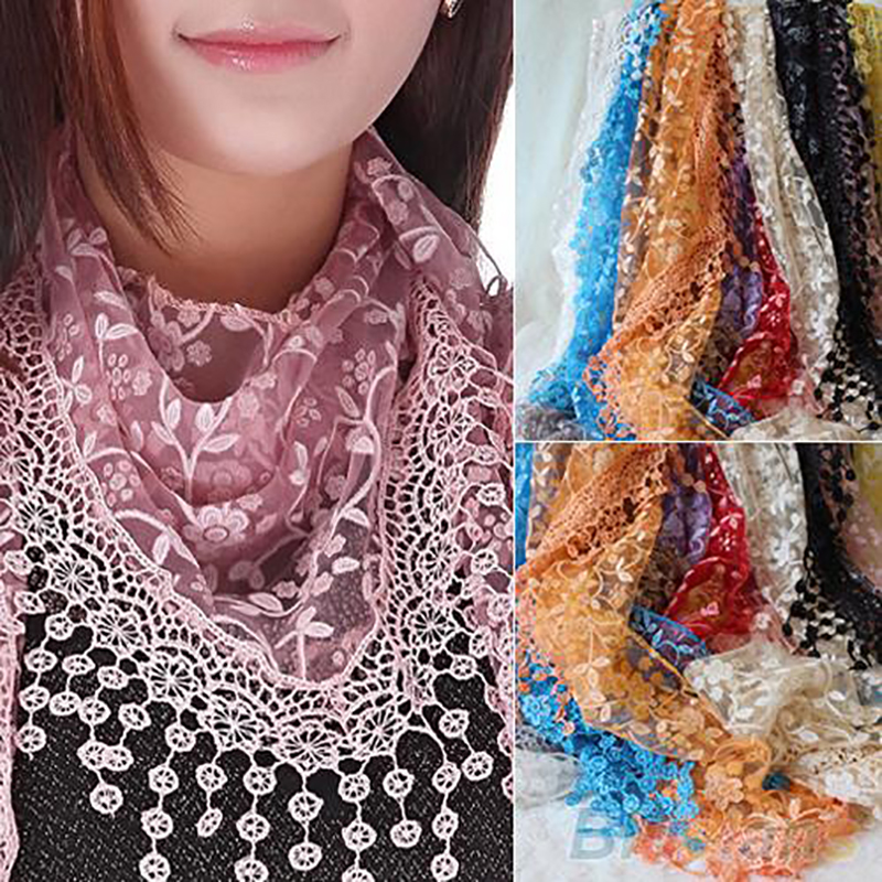 Scarf for women lace Hollow Tassel floral lace scarf Rose Floral Knit Wrap Triangle Mantilla Scarf Shawl Wrap