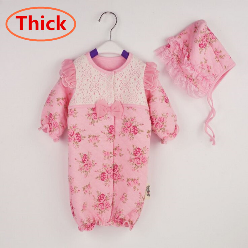 Newborn Princess Style Baby Romper Thick Winter Warm Girl Clothes Birthday Lace Rompers+Hats Baby Clothing Sets Infant Jumpsuit 2015 newborn princess style baby girl clothes kids birthday dress girls lace rompers hats baby clothing sets infant jumpsuit