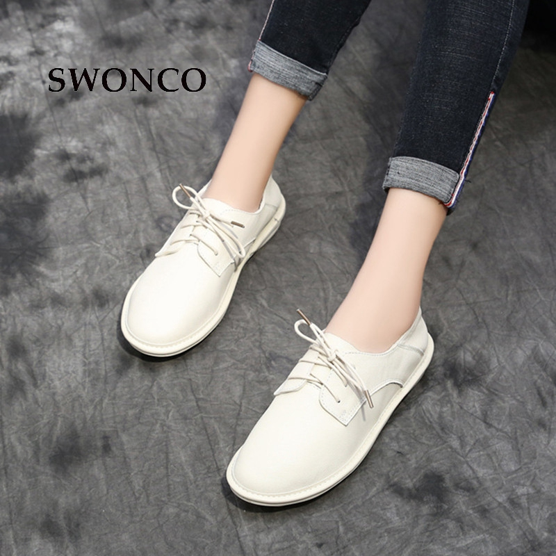SWONCO Women's Flats Shoes Spring Autumn Genuine Leather Handmade Ladies Shoe Women Shoes Flat Casual Lace Up Woman Shoe