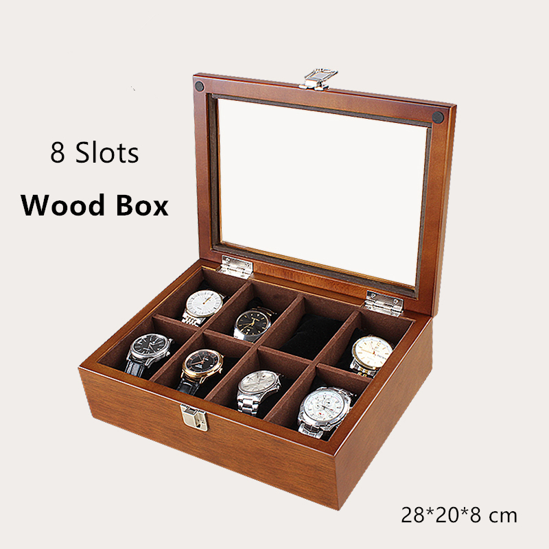 Han 8 Slots Wood Watch Box Black Watch Display Box Fashion Watch Storage Cases With Lock Jewelry Wood Box W032 russia s old elm purple yu pure real wood double box box jade jewelry bracelet receive a cassette of the lock