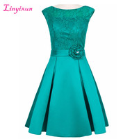 Linyixun Real Photo New Lace Homecoming Dresses 2017 Scoop Sleeveless Short 8th Grade Dresses Satin Vestido