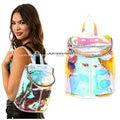 New Designer efeito rainbow holograma mochila Transparente Claro Bolsa de TI bag Bolsa