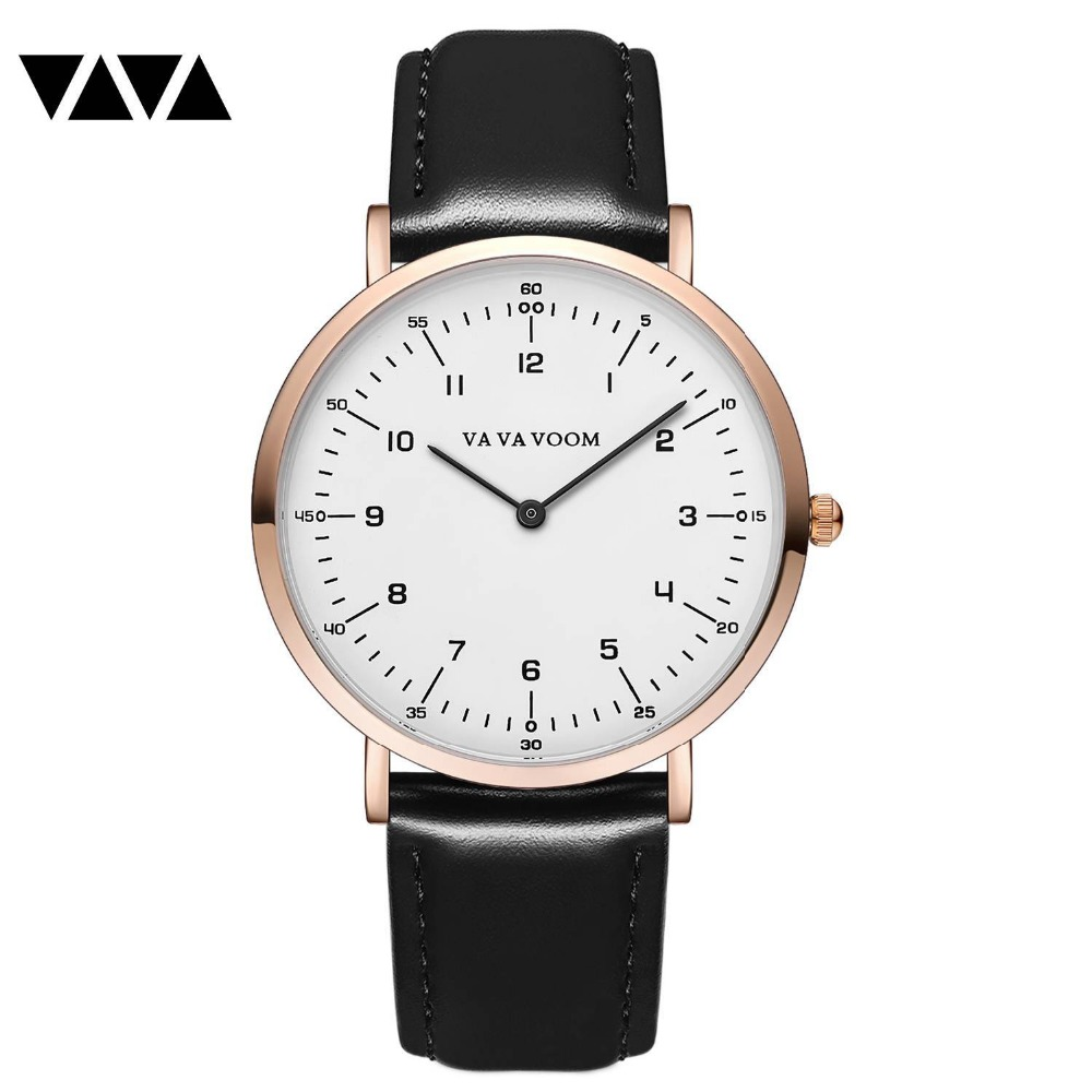 VA VA VOOM Luxury Business Watches Men's Watch Fashion Leather Wrist Watch Mens Watch Clock relogio masculino reloj hombre va va voom платье page 2