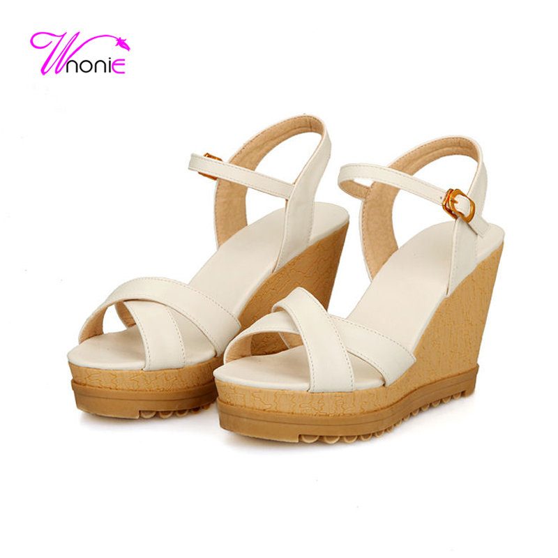 ФОТО 2017 New Fashion Women Sandals High Heel Wedge Platform Sandals Cross Strap PU Leather Sexy Party Dress Office Summer Lady Shoes