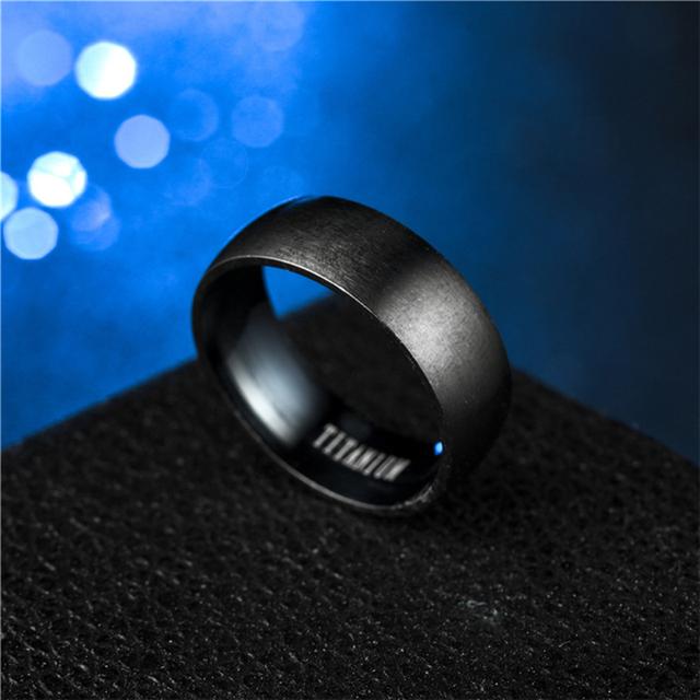 Hitam Titanium Cincin Baja Pria Matte Pertunangan Anel Masculino Cincin untuk Pria Pernikahan Bague Anillos Hombre Perhiasan Bijoux Z4 #32847278831