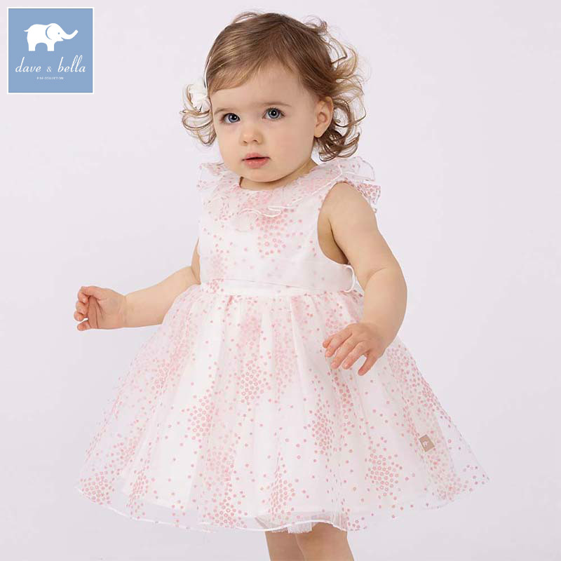 Dave bella Princess girls dress kids sleeveless party wedding floral gown children summer clothing baby girl