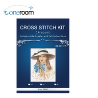 3TH 3TH Top Quality Counted Cross Stitch Kit Forget Me Not Beautiful Girl Lady Woman with Blue Flowers riolis 100/04