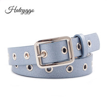 HATCYGGO 2019 Belt Female Retro Belts For Women Leather Silver Square Buckle/Adjustable Hollow Summer Decoration Waistband