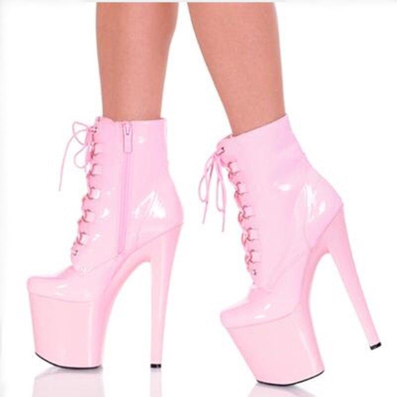 4d9f5ebec 2018 Весенние новые высокие полусапожки на платформе женские туфли на  высоком каблуке розовые лакированные кожаные ботинки