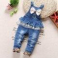 1-2.5Y novo 2016 primavera meninas calças de brim totais com bowknot bebê menina calça jeans meninas macacões roupa das crianças