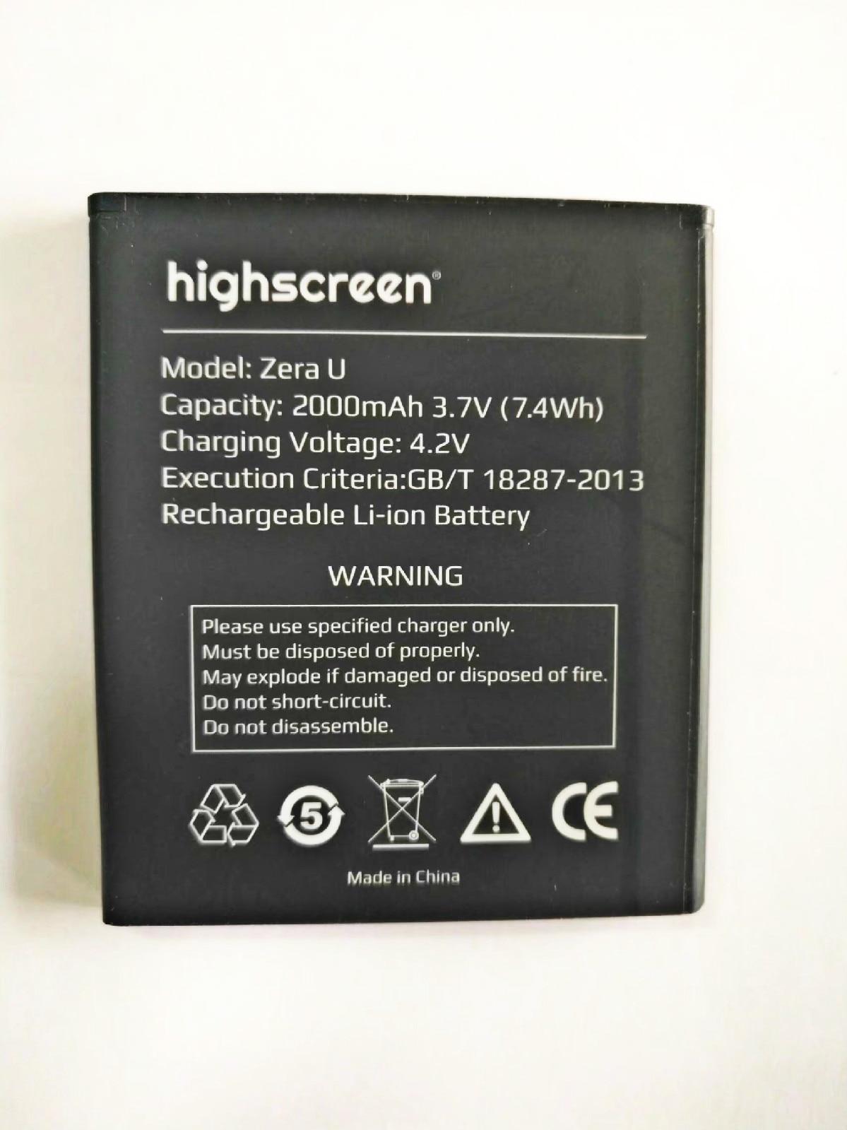 Highscreen Zera U Acumulador de Bateria 2000mAh de Alta Qualidade