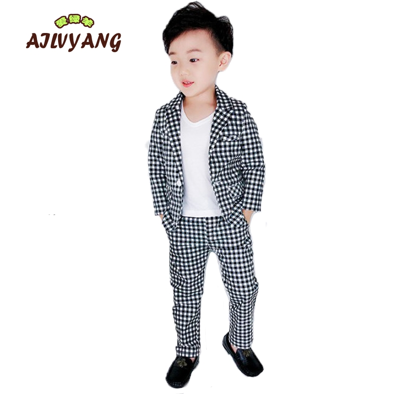 Childrens Suit Sets 2019 Spring New  Black And White Plaid Blazer + Trousers 2pcs Outfits Kids School Party CostumeChildrens Suit Sets 2019 Spring New  Black And White Plaid Blazer + Trousers 2pcs Outfits Kids School Party Costume